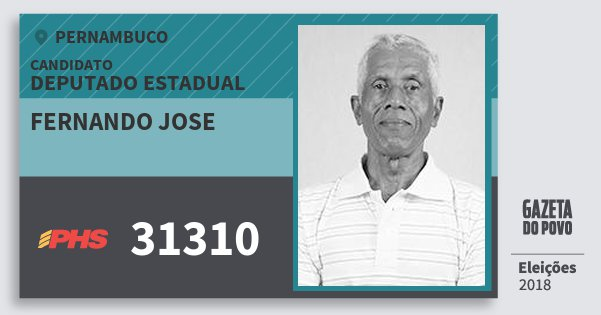 Santinho Fernando Jose 31310 (PHS) Deputado Estadual | Pernambuco | Eleições 2018