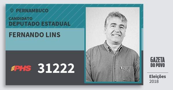 Santinho Fernando Lins 31222 (PHS) Deputado Estadual | Pernambuco | Eleições 2018