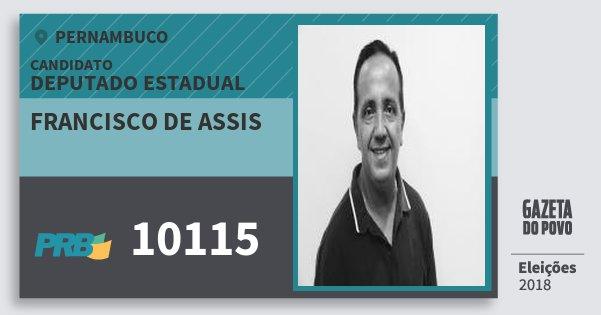 Santinho Francisco de Assis 10115 (PRB) Deputado Estadual | Pernambuco | Eleições 2018