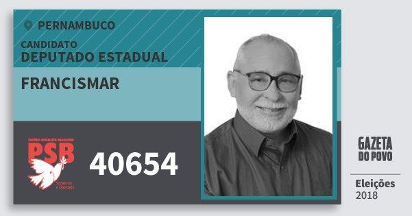 Santinho Francismar 40654 (PSB) Deputado Estadual | Pernambuco | Eleições 2018