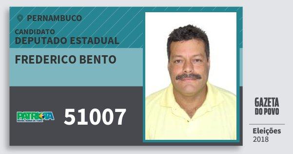 Santinho Frederico Bento 51007 (PATRI) Deputado Estadual | Pernambuco | Eleições 2018