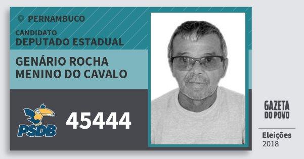 Santinho Genário Rocha Menino do Cavalo 45444 (PSDB) Deputado Estadual | Pernambuco | Eleições 2018
