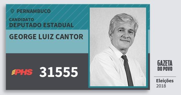 Santinho George Luiz Cantor 31555 (PHS) Deputado Estadual   Pernambuco   Eleições 2018