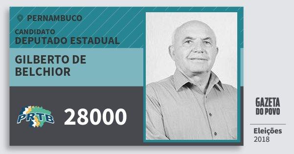 Santinho Gilberto de Belchior 28000 (PRTB) Deputado Estadual | Pernambuco | Eleições 2018