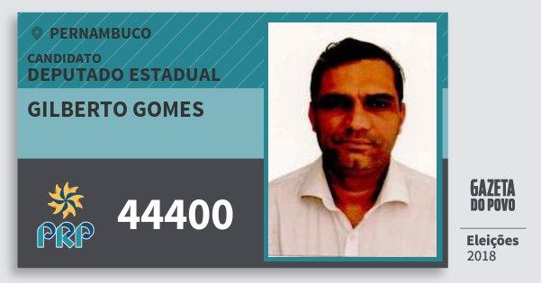 Santinho Gilberto Gomes 44400 (PRP) Deputado Estadual | Pernambuco | Eleições 2018