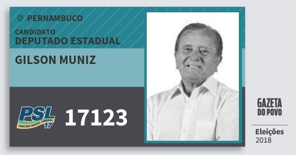 Santinho Gilson Muniz 17123 (PSL) Deputado Estadual | Pernambuco | Eleições 2018