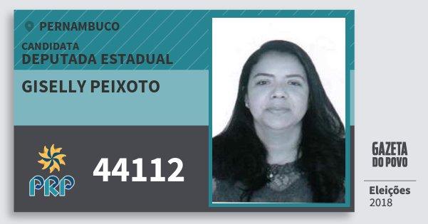 Santinho Giselly Peixoto 44112 (PRP) Deputada Estadual | Pernambuco | Eleições 2018