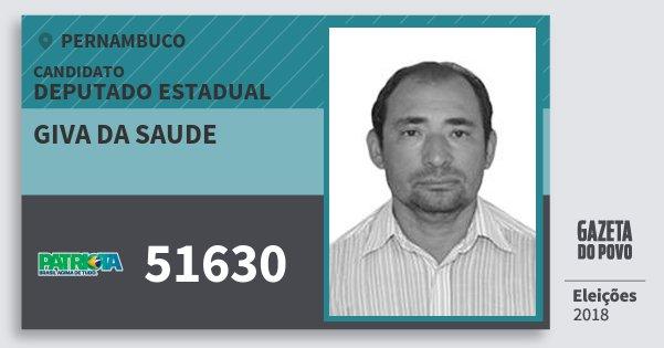 Santinho Giva da Saude 51630 (PATRI) Deputado Estadual | Pernambuco | Eleições 2018
