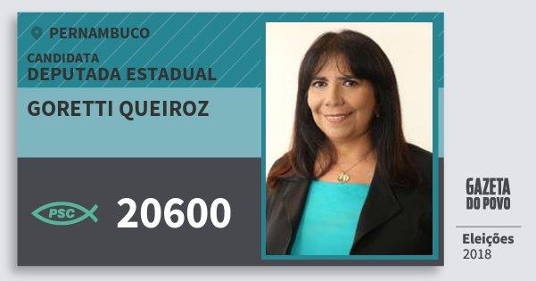 Santinho Goretti Queiroz 20600 (PSC) Deputada Estadual | Pernambuco | Eleições 2018