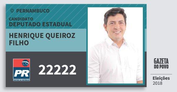 Santinho Henrique Queiroz Filho 22222 (PR) Deputado Estadual | Pernambuco | Eleições 2018