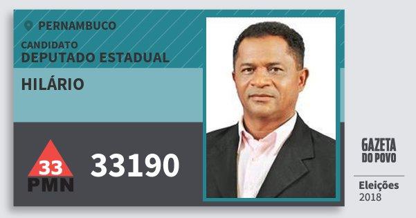 Santinho Hilário 33190 (PMN) Deputado Estadual | Pernambuco | Eleições 2018