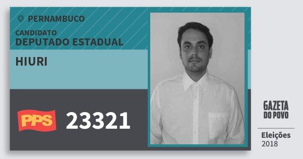Santinho Hiuri 23321 (PPS) Deputado Estadual | Pernambuco | Eleições 2018