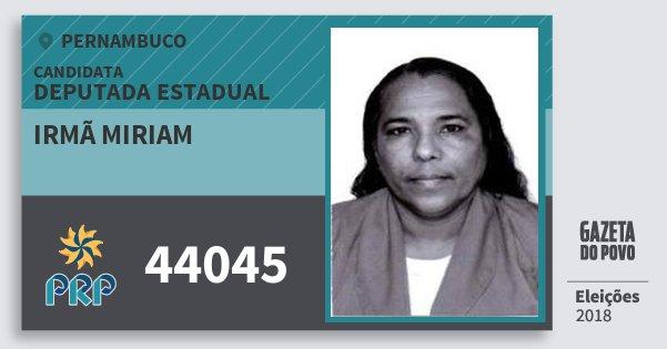 Santinho Irmã Miriam 44045 (PRP) Deputada Estadual   Pernambuco   Eleições 2018
