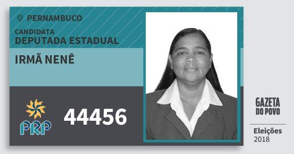 Santinho Irmã Nenê 44456 (PRP) Deputada Estadual | Pernambuco | Eleições 2018