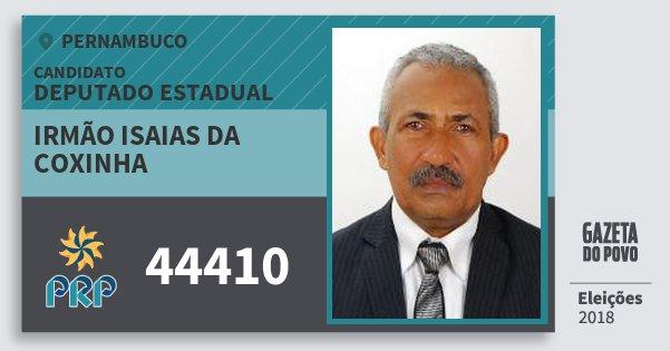 Santinho Irmão Isaias da Coxinha 44410 (PRP) Deputado Estadual | Pernambuco | Eleições 2018