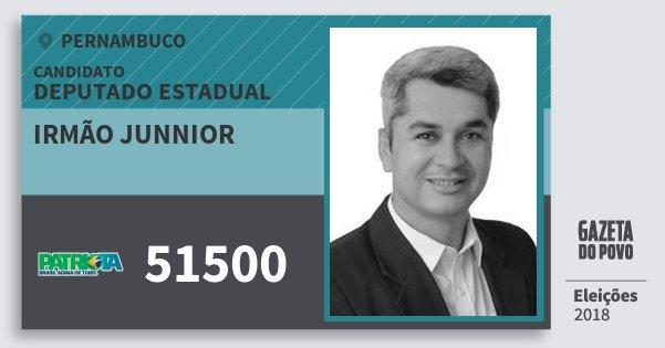 Santinho Irmão Junnior 51500 (PATRI) Deputado Estadual | Pernambuco | Eleições 2018