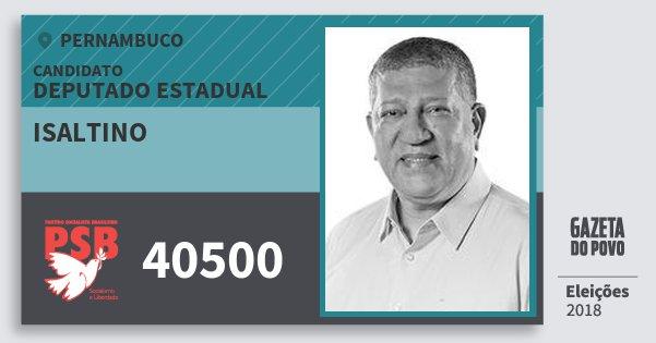 Santinho Isaltino 40500 (PSB) Deputado Estadual | Pernambuco | Eleições 2018