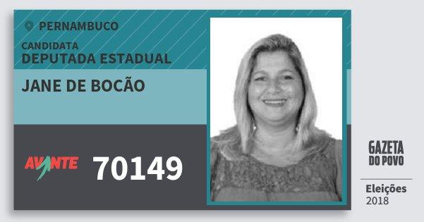 Santinho Jane de Bocão 70149 (AVANTE) Deputada Estadual | Pernambuco | Eleições 2018