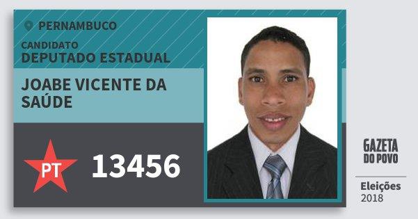 Santinho Joabe Vicente da Saúde 13456 (PT) Deputado Estadual | Pernambuco | Eleições 2018