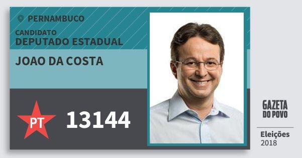 Santinho Joao da Costa 13144 (PT) Deputado Estadual | Pernambuco | Eleições 2018