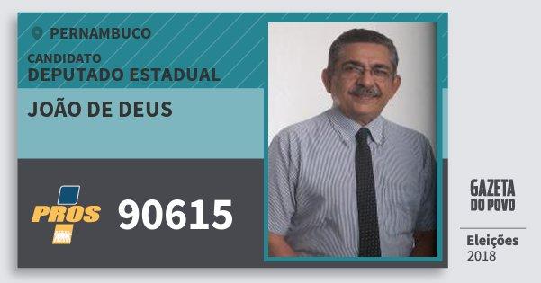Santinho João de Deus 90615 (PROS) Deputado Estadual | Pernambuco | Eleições 2018