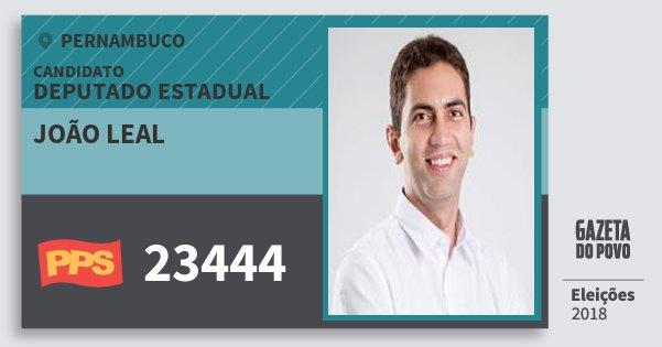Santinho João Leal 23444 (PPS) Deputado Estadual | Pernambuco | Eleições 2018