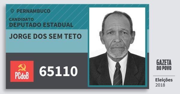 Santinho Jorge dos Sem Teto 65110 (PC do B) Deputado Estadual | Pernambuco | Eleições 2018