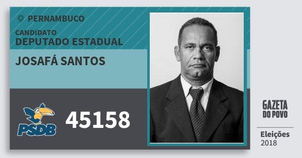 Santinho Josafá Santos 45158 (PSDB) Deputado Estadual | Pernambuco | Eleições 2018