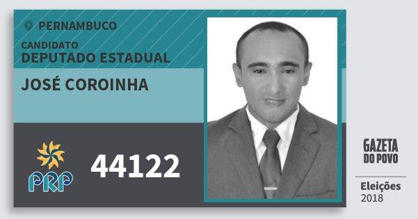 Santinho José Coroinha 44122 (PRP) Deputado Estadual | Pernambuco | Eleições 2018