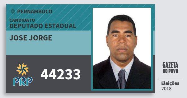 Santinho Jose Jorge 44233 (PRP) Deputado Estadual | Pernambuco | Eleições 2018