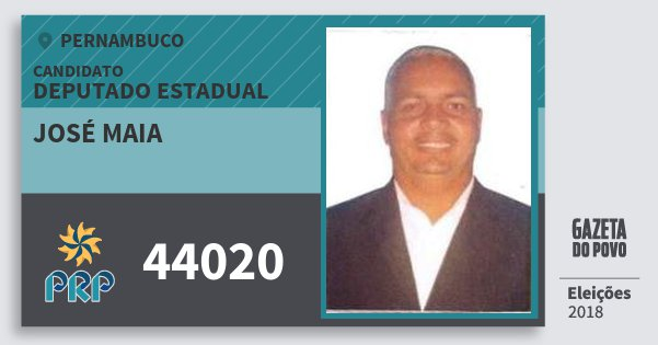Santinho José Maia 44020 (PRP) Deputado Estadual | Pernambuco | Eleições 2018