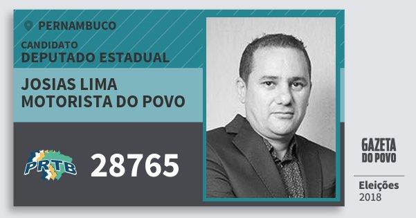 Santinho Josias Lima Motorista do Povo 28765 (PRTB) Deputado Estadual   Pernambuco   Eleições 2018