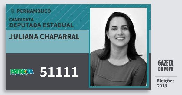 Santinho Juliana Chaparral 51111 (PATRI) Deputada Estadual | Pernambuco | Eleições 2018