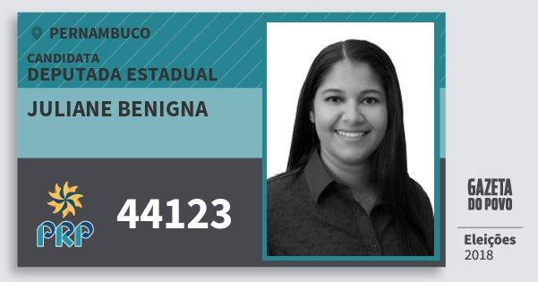 Santinho Juliane Benigna 44123 (PRP) Deputada Estadual | Pernambuco | Eleições 2018