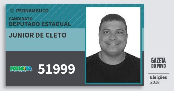 Santinho Junior de Cleto 51999 (PATRI) Deputado Estadual | Pernambuco | Eleições 2018