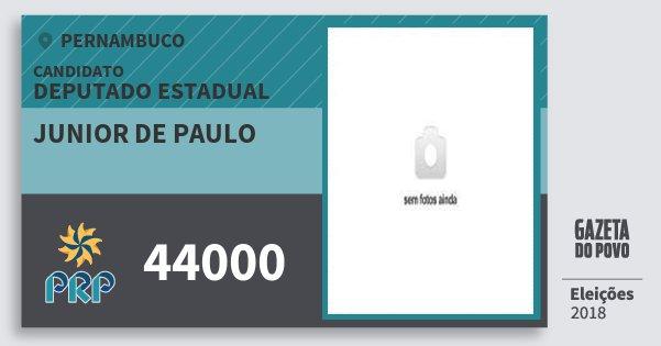 Santinho Junior de Paulo 44000 (PRP) Deputado Estadual | Pernambuco | Eleições 2018