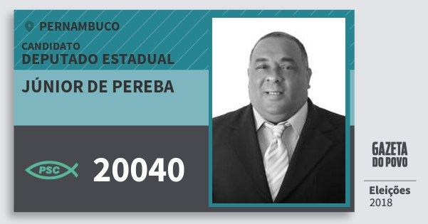 Santinho Júnior de Pereba 20040 (PSC) Deputado Estadual | Pernambuco | Eleições 2018