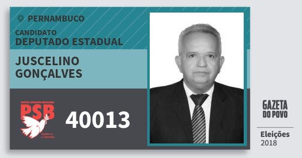 Santinho Juscelino Gonçalves 40013 (PSB) Deputado Estadual | Pernambuco | Eleições 2018