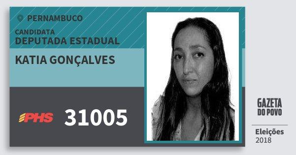 Santinho Katia Gonçalves 31005 (PHS) Deputada Estadual | Pernambuco | Eleições 2018