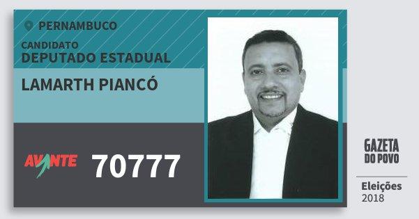Santinho Lamarth Piancó 70777 (AVANTE) Deputado Estadual | Pernambuco | Eleições 2018