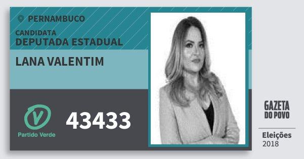 Santinho Lana Valentim 43433 (PV) Deputada Estadual | Pernambuco | Eleições 2018