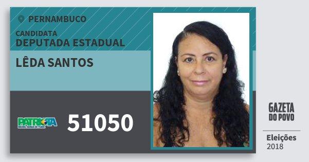 Santinho Lêda Santos 51050 (PATRI) Deputada Estadual | Pernambuco | Eleições 2018