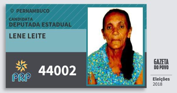 Santinho Lene Leite 44002 (PRP) Deputada Estadual | Pernambuco | Eleições 2018