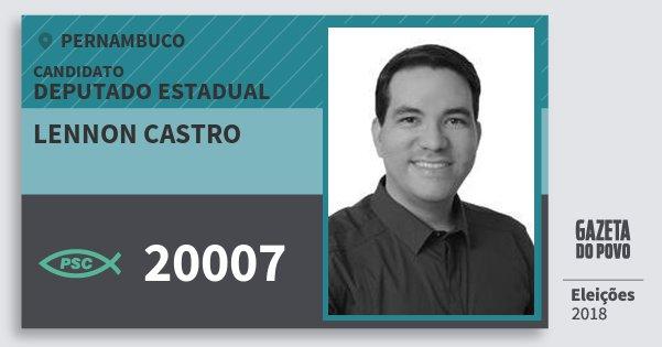 Santinho Lennon Castro 20007 (PSC) Deputado Estadual | Pernambuco | Eleições 2018