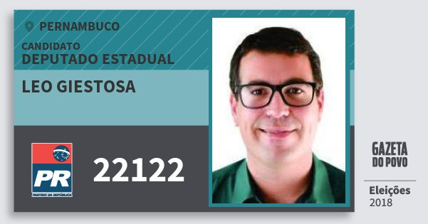 Santinho Leo Giestosa 22122 (PR) Deputado Estadual | Pernambuco | Eleições 2018
