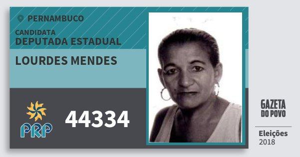 Santinho Lourdes Mendes 44334 (PRP) Deputada Estadual | Pernambuco | Eleições 2018
