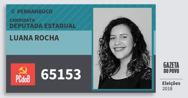 Santinho Luana Rocha 65153 (PC do B) Deputada Estadual | Pernambuco | Eleições 2018