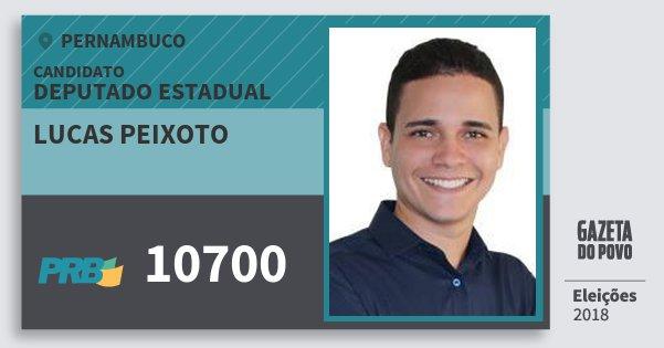 Santinho Lucas Peixoto 10700 (PRB) Deputado Estadual | Pernambuco | Eleições 2018
