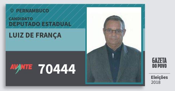 Santinho Luiz de França 70444 (AVANTE) Deputado Estadual | Pernambuco | Eleições 2018