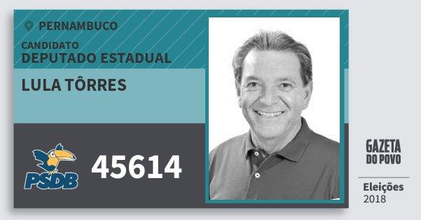 Santinho Lula Tôrres 45614 (PSDB) Deputado Estadual | Pernambuco | Eleições 2018